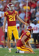 September 2 2010: Iowa State Cyclones kicker Grant Mahoney (21) eyes the goal posts before a field goal attempt during the first half of the NCAA football game between the Northern Illinois Huskies and the Iowa State Cyclones at Jack Trice Stadium in Ames, Iowa on Thursday September 2, 2010. Iowa State defeated Northern Illinois 27-10.