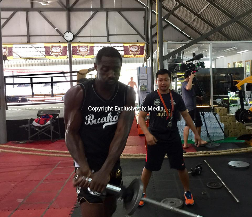EXCLUSIVE<br /> Idris Elba starring role of Thor, the god of lightning flew to Thailand for  boxing training camp with Buakaw Banchamek<br /> <br /> Idris Elba from the movie Thor pictured at boxing training camp Buakaw Banchamek  for  rehearsals before filming a documentary on the Discovery Channel Discovery by Buakaw Banchamek top of the boxing. <br /> <br /> The camp pictured  drills between Buakaw and Elba, adding that the arrival of Elba, The actor  has been a fan of  Buakaw Buakaw <br /> ©Buakaw Banchamek/Exclusivepix Media