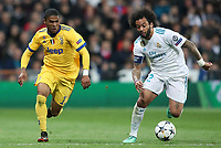 Real Madrid's Marcelo Vieira (r) and Juventus Football Club's Douglas Costa during Champions League Quarter-Finals 2nd leg match. April 11,2018. (ALTERPHOTOS/Acero)