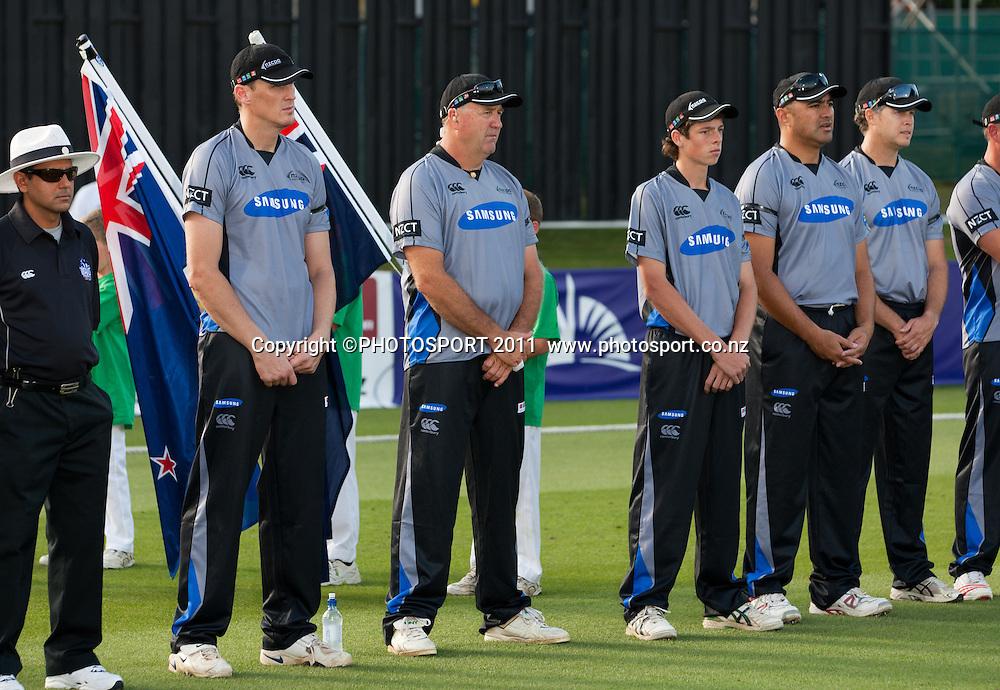 The teams line up before the Titans International Twenty20 Cricket, Samsung NZCPA Masters XI v Australia, Seddon Park, Hamilton, New Zealand, Thursday 24 February 2011. Photo: Stephen Barker/PHOTOSPORT