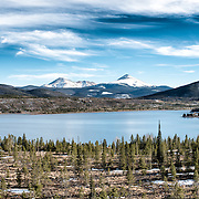 A view of the snow-capped Rocky Mountains over the Dillon Reservoir at Wildernest, Colorado, not far from Denver.