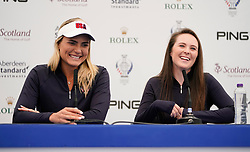 Auchterarder, Scotland, UK. 12 September 2019. Press conference with Team USA players for the 2019 Solheim Cup. Pictured; Lexi Thompson (l) and Brittany Altomare. Iain Masterton/Alamy Live News