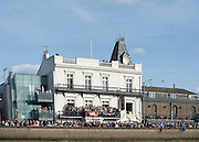 London, Great Britain, The Bulls Head at Barnes with a full Blacony during The Newton Women's Boat Race, Men's Race , Championship Course.  River Thames. Putney to Mortlake. ENGLAND. <br /> <br /> 17:06:06  Saturday  11/04/2015<br /> <br /> [Mandatory Credit; Peter Spurrier/Intersport-images]<br /> <br /> OUWBC Crew: <br /> Maxie SCHESKE, Anastasia CHITTY, Shelley PEARSON, Lauren KEDAR, Maddy BADCOTT, Emily REYNOLDS, Nadine GRAEDEL IBERG, Caryn DAVIES and Cox Jennifer EHR