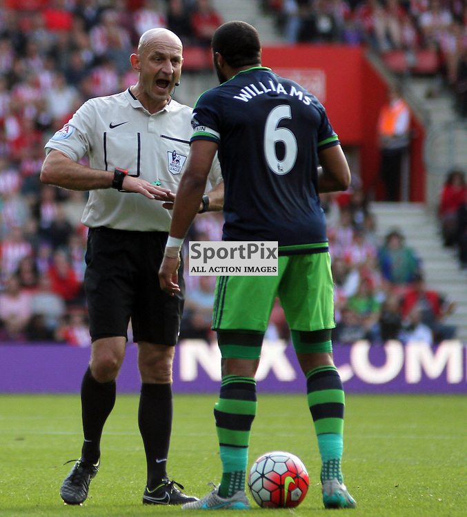 Referee Roger East screams at Ashley Williams During Southampton vs Swansea on Saturday 26th September 2015.