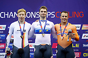Podium, Men 1 km time trial Matthijs Buchli (Netherlands) Gold medal, Joachim oilers (Germany) silver medal, Sam Ligtlee (Netherlands) bronze medal during the Track Cycling European Championships Glasgow 2018, at Sir Chris Hoy Velodrome, in Glasgow, Great Britain, Day 3, on August 4, 2018 - Photo Luca Bettini / BettiniPhoto / ProSportsImages / DPPI