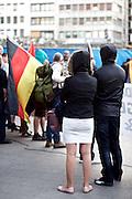Frankfurt am Main | 21 Apr 2015<br /> <br /> Am Dienstag (21.04.2015) hielt die rassistische und islamfeindliche Gruppe PEGIDA (Patriotische Europ&auml;er gegen die Islamisierung des Abendlandes) an der Hauotwache neben der Katharinenkirche in Frankfurt am Main eine Mahnwache unter dem Motto &quot;Wir sind wieder da&quot; ab. Die Kundgebung war wie immer mit Hamburger Gittern abgesperrt und von starken Polizeikr&auml;ften bewacht. Etwa 1000 Menschen nahmen an den Gegenprotesten teil.<br /> Hier: Teilnehmer der PEGIDA-Kundgebung mit Kapuzen.<br /> <br /> &copy;peter-juelich.com<br /> <br /> [Foto Honorarpflichtig | No Model Release | No Property Release]