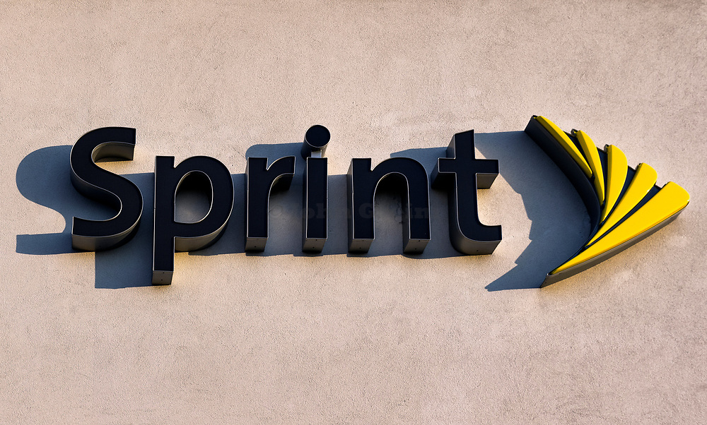 Sprint logo on the exterior of a store, Mount Laural, New Jersey, USA.