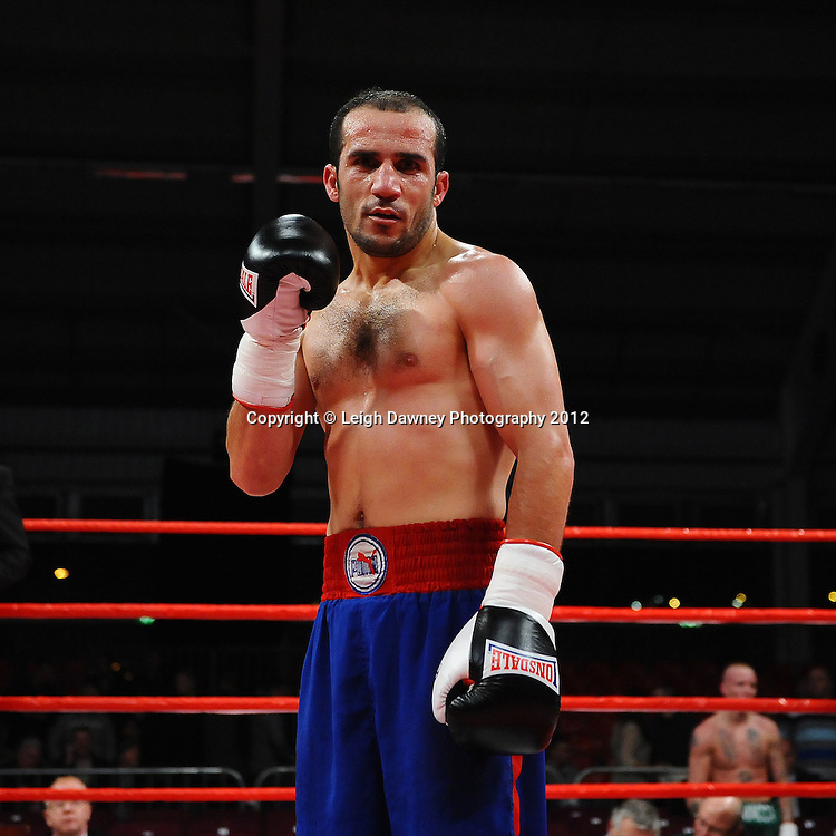 Youseff Al Hamid (pictured) defeats Tommy Carus in a 4x3 Lightweight contest on the 30th November 2012 at Aintree Equestrian Centre, Aintree, Liverpool. Frank Maloney Promotions. Pictures by Leigh Dawney. ©leighdawneyphotography 2012.