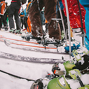 Skiers wait in a long line during the first big powder day of the season at Mount Baker Ski Area in Washington.