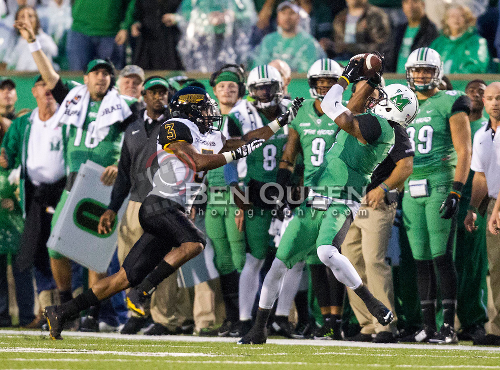 Oct 9, 2015; Huntington, WV, USA; Marshall Thundering Herd wide receiver Davonte Allen makes a catch during the first quarter against the Southern Miss Golden Eagles at Joan C. Edwards Stadium. Mandatory Credit: Ben Queen-USA TODAY Sports