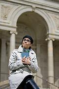 Marga Gomez at the Presido library doing a PSA for the San Francisco Public Library...Photo by Jason Doiy.4-6-09