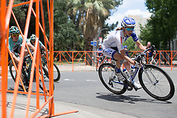 Katie Hall (USA) of UnitedHealthcare Cycling Team leans into a corner during the fourth, 70 km road race stage of the Amgen Tour of California - a stage race in California, United States on May 22, 2016 in Sacramento, CA.