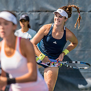 August 20, 2016, New Haven, Connecticut: <br /> Sophie Chang and Alexandra Mueller in action during a US Open National Playoffs match at the 2016 Connecticut Open at the Yale University Tennis Center on Saturday, August  20, 2016 in New Haven, Connecticut. <br /> (Photo by Billie Weiss/Connecticut Open)