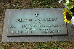 31 August 2017:   Veterans graves in Park Hill Cemetery in eastern McLean County.<br /> <br /> Melvin J Schmidt Illinois Private First Class 814 Tank Destroyer BN World War II June 7 1918 Jan 25 1961