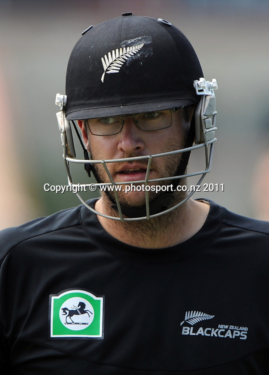 Daniel Vettori during a Black Caps training session at Nelson Park in Napier ahead of the first cricket test against Zimbabwe starting this week. Tuesday 24 January 2012. Napier, New Zealand. Photo: Andrew Cornaga/Photosport.co.nz
