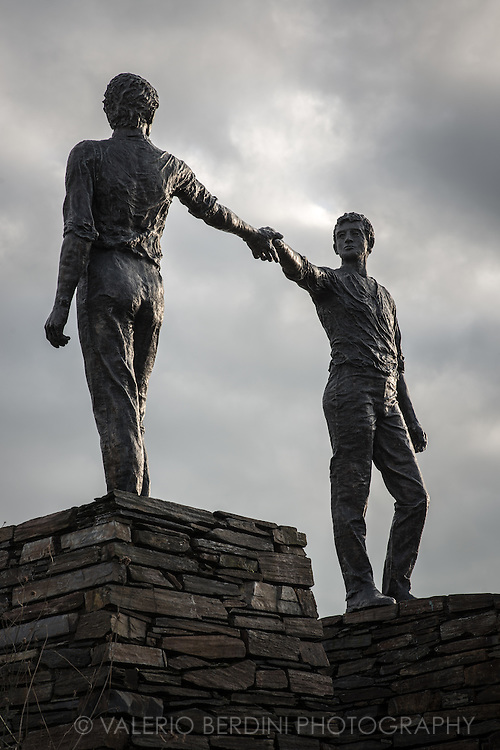 This bronze sculpture of two men reaching out to each other symbolises the spirit of reconciliation and hope for the future; it was unveiled in 1992, 20 years after Bloody Sunday.