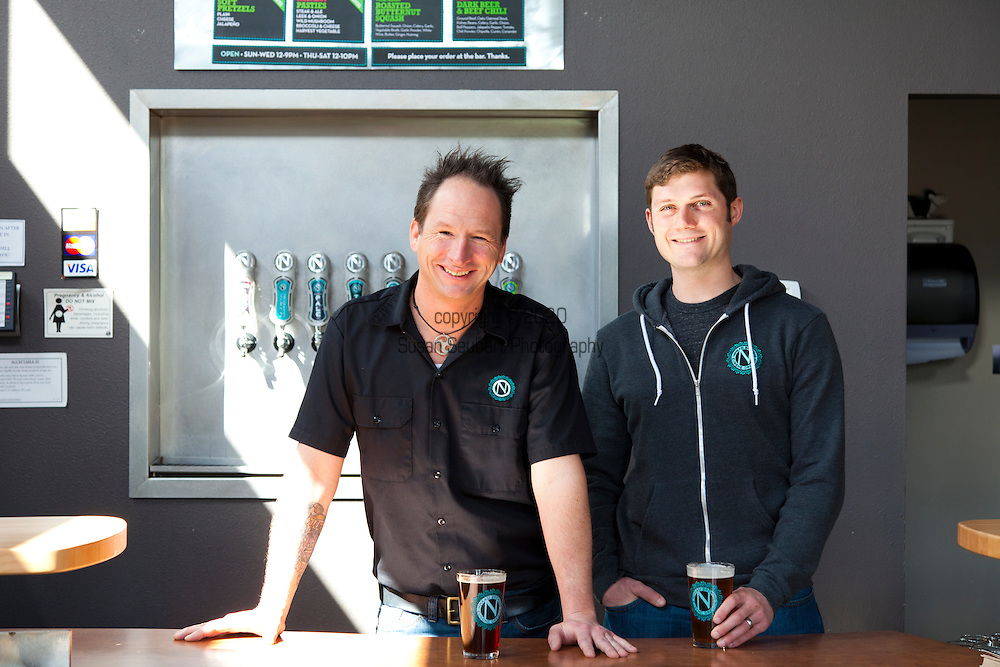 Ninkasi Brewery owners Nikos Ridge (hoodie) and Jamie Floyd in the brewery's tasting room. Ninkasi is a regional craft brewery making beers in the Northwest style. Their location in Eugene, Oregon affords regional access for their primary ingredients, which include: Water, Malt, Hops and Yeast. With the strong regional hop industry, and access to the McKenzie River, source of some of the cleanest water in the world, Ninkasi is well positioned for their goal of brewing high quality craft beers. The beer's namesake, Ninkasi, was the Sumerian goddess of fermentation.