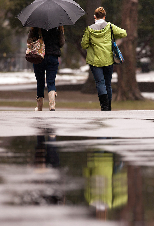 Pedestrians walk in the rain on Friday, April 1, 2011 in Harvard Yard. Brooks Canaday/Harvard University