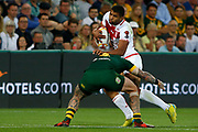 Kallum Watkins of England gets tackled by Joshua Dugan of Australia during the Rugby League World Cup match between Australia and England at Melbourne Rectangular Stadium, Melbourne, Australia on 27 October 2017. Photo by Mark  Witte.