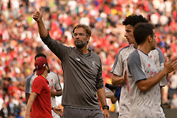 July 28, 2018 - Ann Arbor, MI, U.S. - ANN ARBOR, MI - JULY 28: Liverpool head coach Jürgen Klopp waves to the fans during a post-game lap around the pitch following the ICC soccer match between Manchester United FC and Liverpool FC on July 28, 2018 at Michigan Stadium in Ann Arbor, MI (Photo by Allan Dranberg/Icon Sportswire) (Credit Image: © Allan Dranberg/Icon SMI via ZUMA Press)