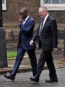 © Licensed to London News Pictures. 22/02/2012, London, UK. (Right) Chris Powell arrives at the summit. The UK Prime Minister holds a summit at Downing Street on racism in football. Photo credit : Stephen Simpson/LNP