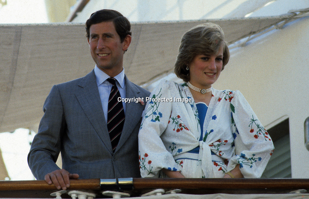 An August  1981 photo of Prince Charles and Princess Diana on their honeymoon which was spent cruising the Mediterranean Sea aboard the Royal Yacht Brittania. The royal couple were married on July 29, 1981. GIBRALTAR - 08/1981.