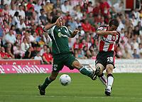 Photo: Lee Earle.<br /> Southampton v Panathinaikos. Pre Season Friendly. 29/07/2006. Southampton's David Prutton (R) scores their opening goal.