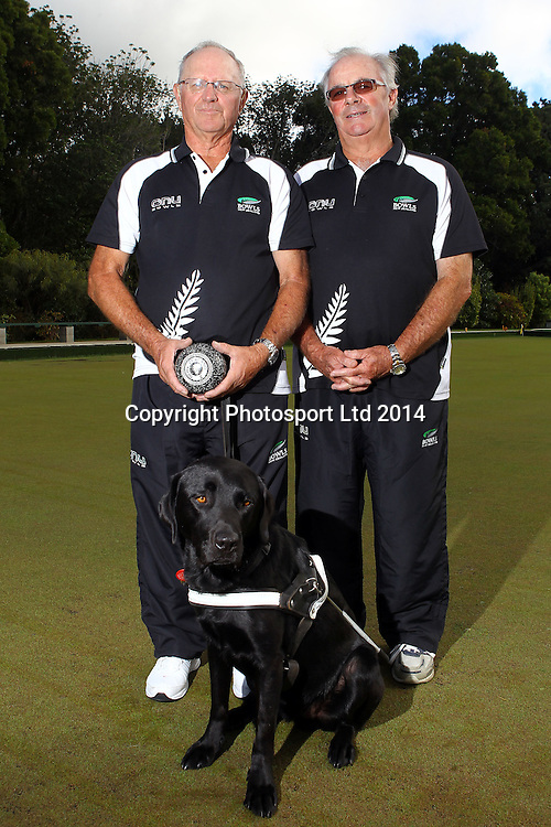 David Stallard (L) and Peter Blick (Director Para-Sport Team), Partially Sighted Pairs, New Zealand Bowls team announcement ahead of the 2014 Glasgow Commonwealth Games in Scotland. Carlton Cornwall Bowing Club, Auckland. 22 April 2014. Photo: William Booth/www.photosport.co.nz