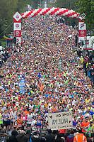 Virgin Money London Marathon 2015<br /> <br /> One mile into the Race<br /> <br /> Photo: Dave Shopland for Virgin Money London Marathon<br /> <br /> This photograph is supplied free to use by London Marathon/Virgin Money.