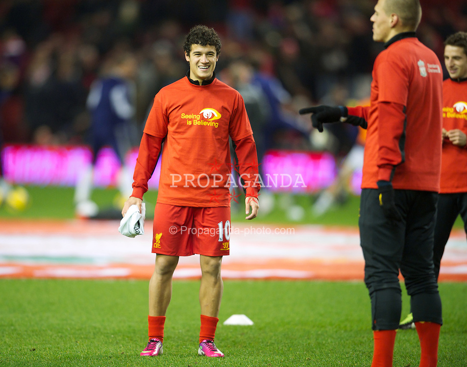 LIVERPOOL, ENGLAND - Monday, February 11, 2013: Liverpool's new signing Philippe Coutinho Correia warms up before the Premiership match against West Bromwich Albion at Anfield. (Pic by David Rawcliffe/Propaganda)