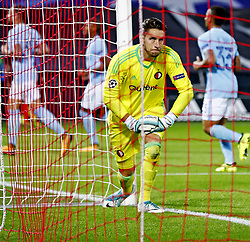 Goalkeeper Brad Jones looks to the ball in the net after 0-4 Manchester City during the UEFA Champions League group F match between Feyenoord Rotterdam and Manchester City at the Kuip on September 13, 2017 in Rotterdam, The Netherlands