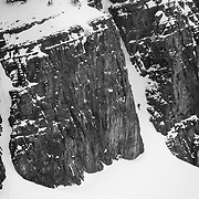 Tigger Knecht drops into the Gothic Couloir deep in the Teton backcountry.