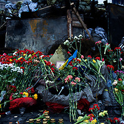 KIEV, UKRAINE - February 23, 2014: Flowers and candles are seen laying in Kiev's Independence Square, in memory of the anti-government protestors killed during violent clashes with Ukrainian special forces. CREDIT: Paulo Nunes dos Santos