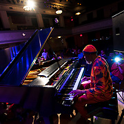 """February 8, 2014 - Brooklyn, NY :<br /> 'New Age music' artist Laraaji, on piano, performs in """"Fun with Sound and Laughter"""" at Roulette, in Brooklyn, on Saturday afternoon.<br /> CREDIT: Karsten Moran for the New York Times"""