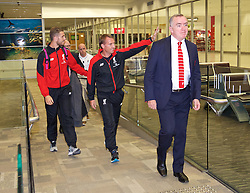 ADELAIDE, AUSTRALIA - Saturday, July 18, 2015: Liverpool's captain Jordan Henderson,  manager Brendan Rodgers and Managing Director Ian Ayre arrive arrive at Adelaide Airport ahead of a preseason friendly match against Adelaide United on day six of the club's preseason tour. (Pic by David Rawcliffe/Propaganda)