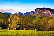 The sun sets on the majestic mountains of Shortoff, Table Rock, Hawksbill and others in the Linville Gorge of the Pisgah National Forest in Nebo, North Carolina.<br /> <br /> &copy; Photography by Kathy Kmonicek