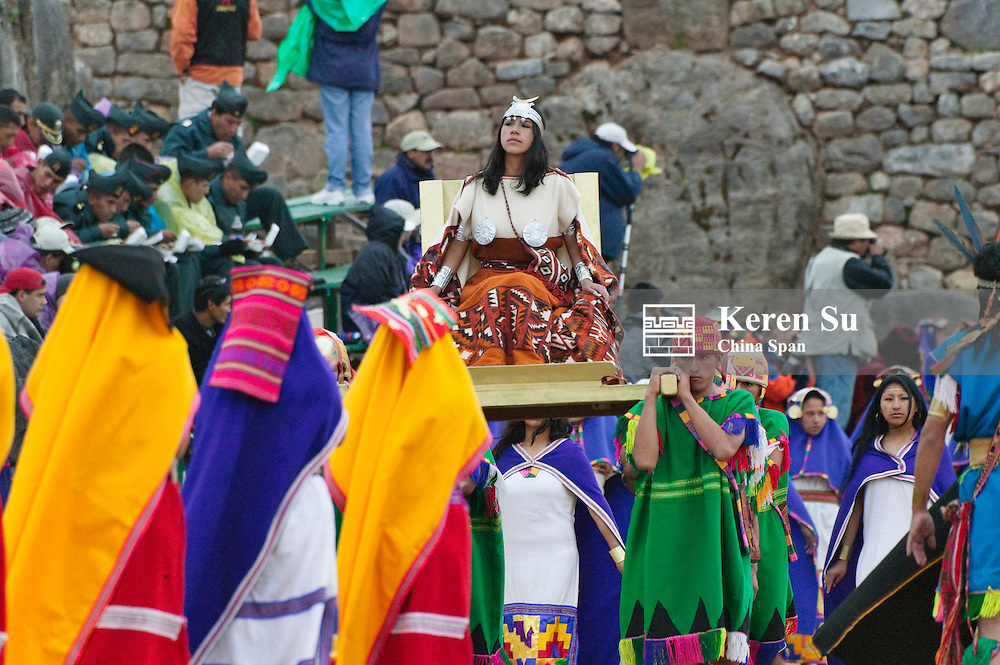 Inti Raymi Festival performance celebrating winter solstice, Sacsayhuaman ruins, Cuzco, Peru