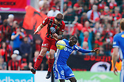SUNDSVALL, SWEDEN - MAY 19: Douglas Bergqvist of Ostersunds FK and Peter Wilson of GIF Sundsvall during the Allsvenskan match between GIF Sundsvall and Ostersunds FK at Idrottsparken on May 19, 2018 in Sundsvall, Sweden. Photo: Nils Petter Nilsson/Ombrello ***BETALBILD***