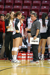 13 October 2011: Kristin Stauter visits with Adriano De Souza as Melissa Myers listens during an NCAA volleyball match between the Indiana State Sycamores and the Illinois State Redbirds at Redbird Arena in Normal Illinois.