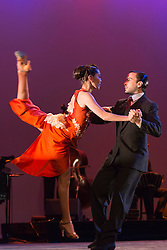 © Licensed to London News Pictures. 26/01/2015. London, England. Performers: Ezequiel Lopez and Camila Alegre. Argentina's dance company Tango Fire returns to the Peacock Theatre, London, with their show Flames of Desire from 27 January to 14 February 2015. Photo credit: Bettina Strenske/LNP