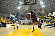 Feb 19, 2011; Long Beach, CA, USA; Long Beach State 49ers forward T.J. Robinson (20) is defended by Montana Grizzlies center Brian Qvale (41) at the Walter Pyramid. Long Beach State defeated Montana 74-56.