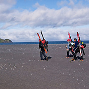 Finally the weather cleared and we set off down the beach with food for four days.