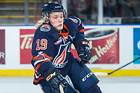 KELOWNA, CANADA - FEBRUARY 24: Orrin Centazzo #19 of the Kamloops Blazers skates for the puck against the Kelowna Rockets  on February 24, 2018 at Prospera Place in Kelowna, British Columbia, Canada.  (Photo by Marissa Baecker/Shoot the Breeze)  *** Local Caption ***