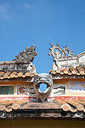 Dragon head drainage spout, The Mieu Temple courtyard, Hue Citadel / Imperial City, Hue, Vietnam