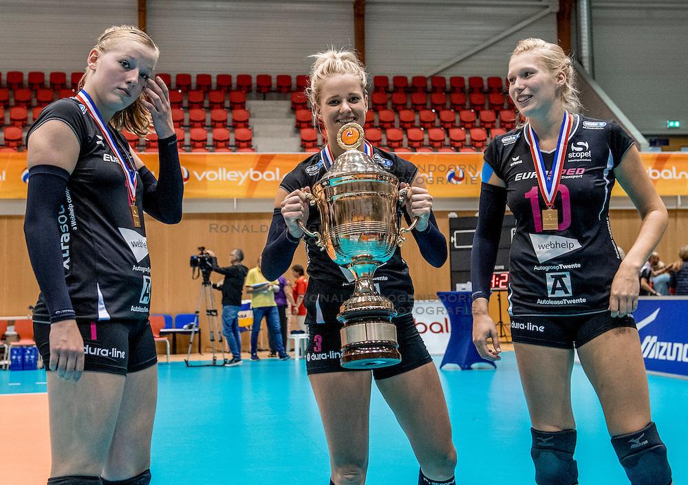 02-10-2016 NED: Supercup VC Sneek - Eurosped, Doetinchem<br /> Eurosped wint de Supercup door Sneek met 3-0 te verslaan / Charlotte Haar #1 of Eurosped, Judith Kamphuis #3 of Eurosped, Colina Makken #10 of Eurosped