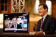 © Licensed to London News Pictures. 03/10/2011. MANCHESTER. UK. Chancellor George Osborne gives breakfast television interviews at The Conservative Party Conference at Manchester Central today, October 3, 2011. Photo credit:  Stephen Simpson/LNP