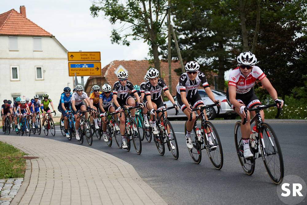 Team Sunweb lead the group through Anger at Lotto Thuringen Ladies Tour 2018 - Stage 6, a 137.3 km road race starting and finishing in Gotha, Germany on June 2, 2018. Photo by Sean Robinson/velofocus.com