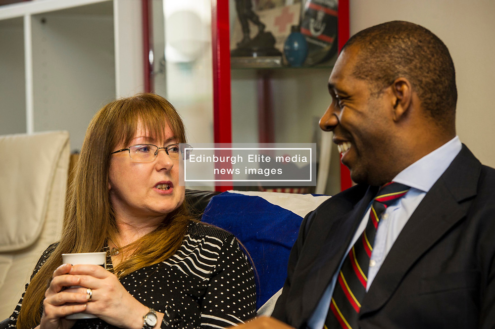 EMBARGOED UNTIL 00:01 2 APRIL 2017<br /> <br /> Pictured: Alison McCrorie, housing specialist at the Lothian Veterans Centre, chatted to Troy Johnson, former Lance Corporal in the Royal Marine Camandos.<br /> During his visit to the Lothians Veteran Centre in Dalkeith on Friday 31 March, Veterans Secretary Keith Brown  announced the successful applicants to the 2017 Scottish Veterans Fund.<br /> The Lothians Veteran Centre provides a person-centred support service for ex-service personnel and their families across Lothians, including projects relating to housing, benefits & welfare, and employment, education and training support.<br /> <br /> Ger Harley | EEm 31 March 2017
