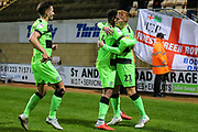 Forest Green Rovers Matthew Worthington(21) scores a goal 1-3 and celebrates during the EFL Sky Bet League 2 match between Cambridge United and Forest Green Rovers at the Cambs Glass Stadium, Cambridge, England on 2 October 2018.
