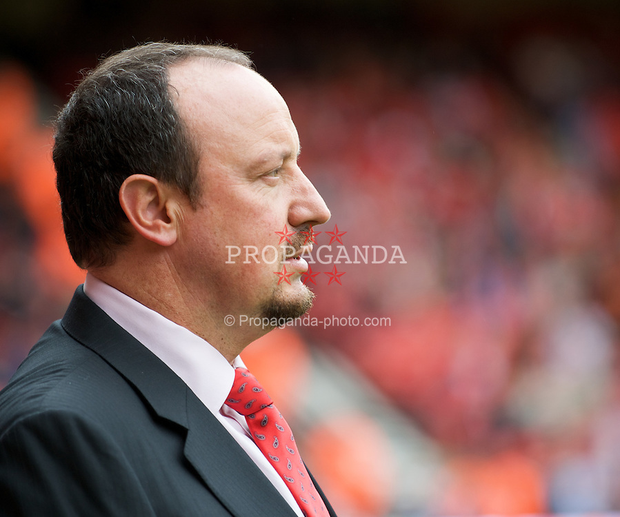 LIVERPOOL, ENGLAND - Saturday, October 18, 2008: Liverpool's manager Rafael Benitez before the Premiership match against Wigan Athletic at Anfield. (Photo by David Rawcliffe/Propaganda)